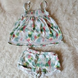 Zara Girls 3/4 Tropical Print Outfit